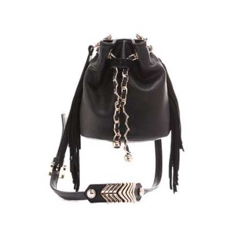 Beauté Fashion - Beaute Bags Mini Bucket Bag Vegan Leather Handbag with  Genuine Suede Fringe