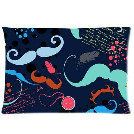 RYLABLUE Mustache Design Pillow Cases 20x30 inches Two Sides Print - image 1 de 1
