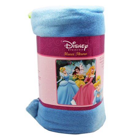Disney Princess Cinderella, Belle, and Aurora Blue Floral Fleece Throw Blanket Disney Princess Fleece Throw