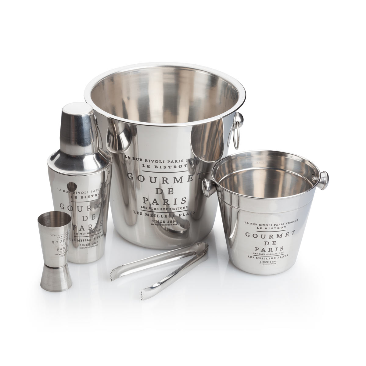 5 Piece Stainless Steel Cocktail Shaker and Ice Bucket set by