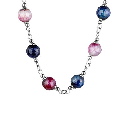 Pink and Purple Natural Agate Stones Stainless Steel Necklace