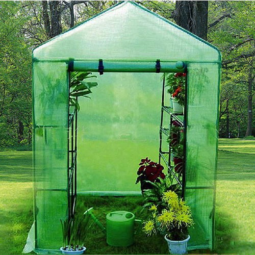 Deluxe Walk-In 2 Tier 8 Shelf Portable Lawn and Garden Greenhouse, Green by Apontus
