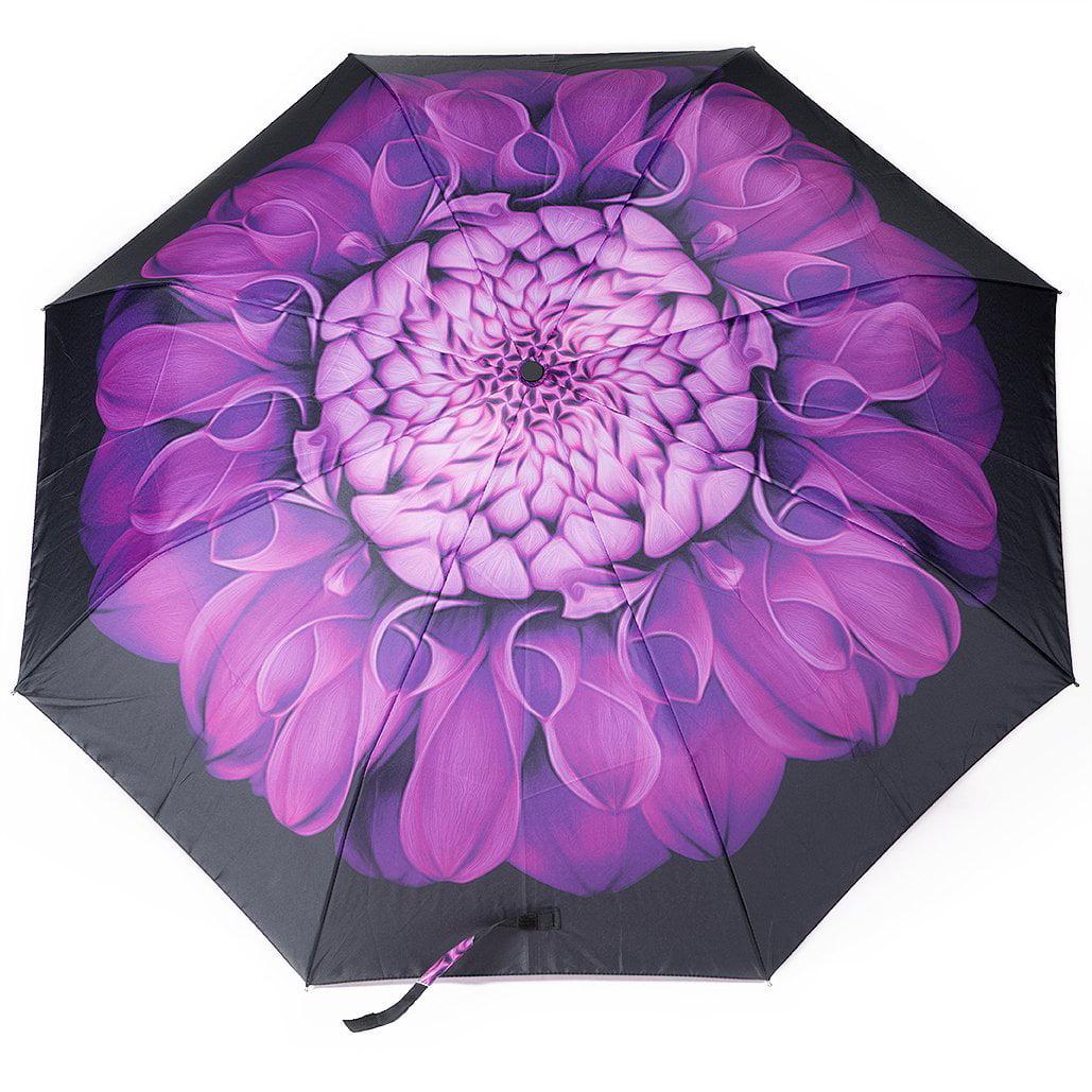 Oak Leaf Auto Open Umbrella For Rain, Easy Carrying, Purple Flower ...