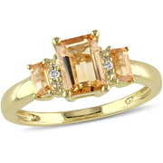 1-3/8 Carat T.G.W. Citrine and Diamond-Accent 10kt Yellow Gold Three-Stone Ring