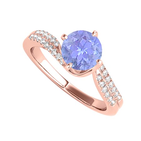Rose Gold Engagement Ring with Round Tanzanite and CZ - image 1 de 2