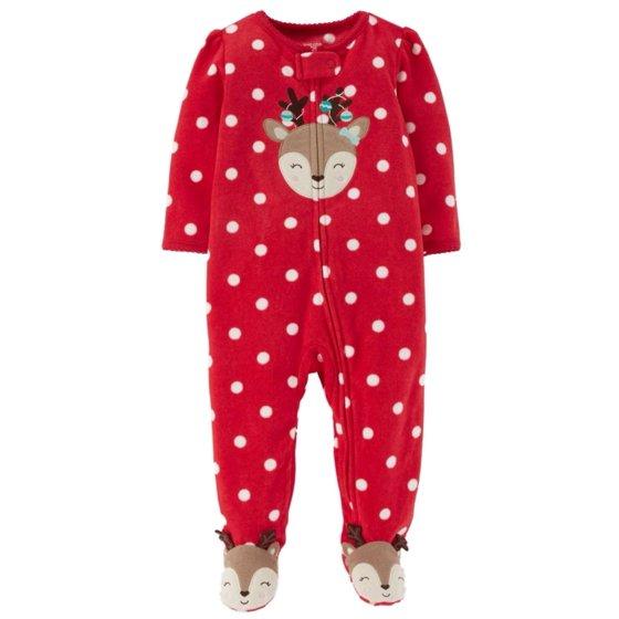 5785318a9 Carters - Carters Infant Girls Red Fleece Polka Dot Reindeer Sleeper ...