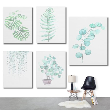 Act Green - Moaere NO Famed 28''X20'' Watercolor Green Plant Wall Art Oil Painting Canvas Prints