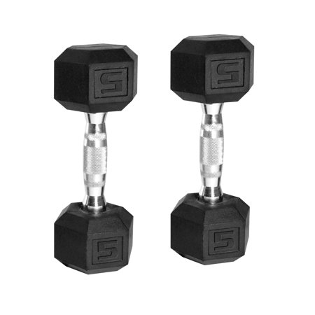 cap barbell rubber coated hex dumbbells set of 2 walmart com
