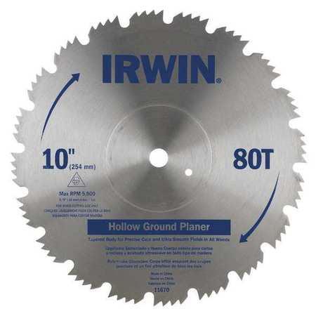 Circular Saw Blade, Steel, 10in, 80Teeth IRWIN 11670 by Irwin