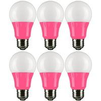Sunlite A19/3W/P/LED/6PK LED Colored A19 3W Light Bulbs with Medium (E26) Base (6 Pack), Pink