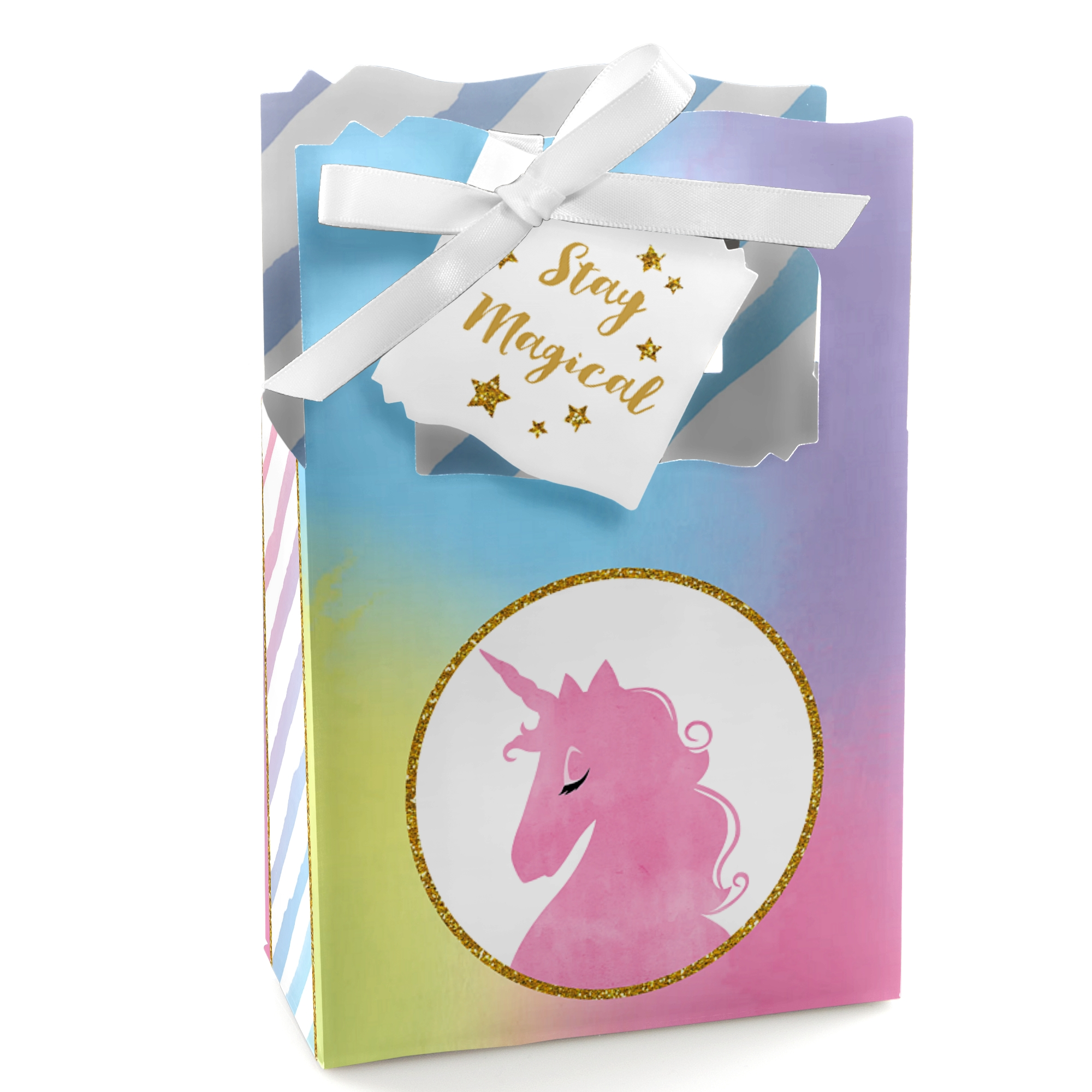 Rainbow Unicorn - Magical Unicorn Baby Shower or Birthday Party Favor Boxes - Set of 12