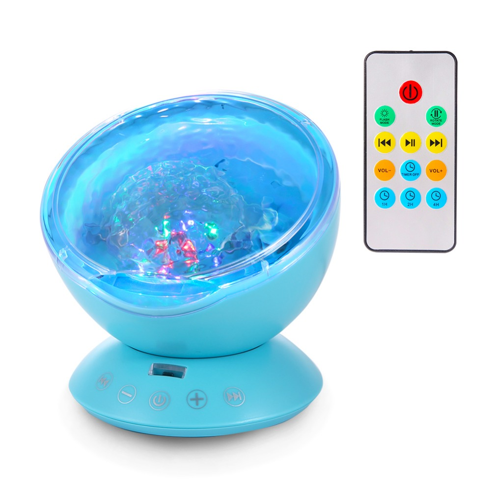 Ocean Wave Projector, Night Light Projector with Remote, Music Player, Timer, Room Decor for Infant Baby Kids, Nursery Living Room and Bedroom (Blue)