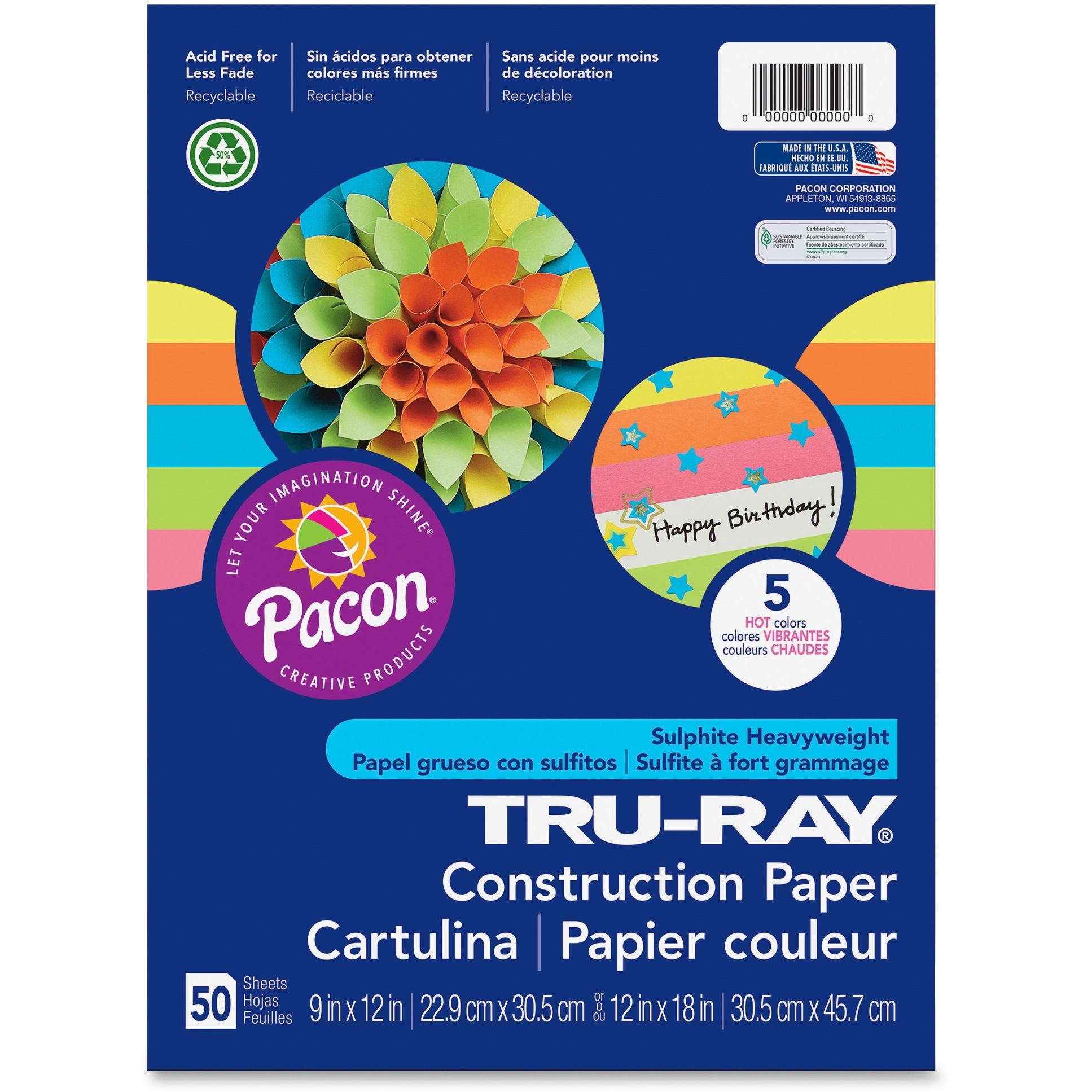 Tru-Ray, PAC6596, Construction Paper, 50 / Pack, Assorted