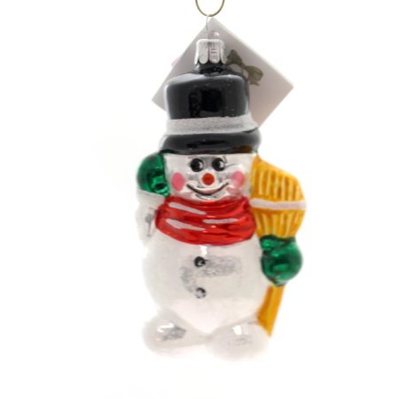 2.5 Inch Snowman Bell Ornament - Golden Bell Collection SNOWMAN WITH BROOM Glass Ornament Frosty Sn210