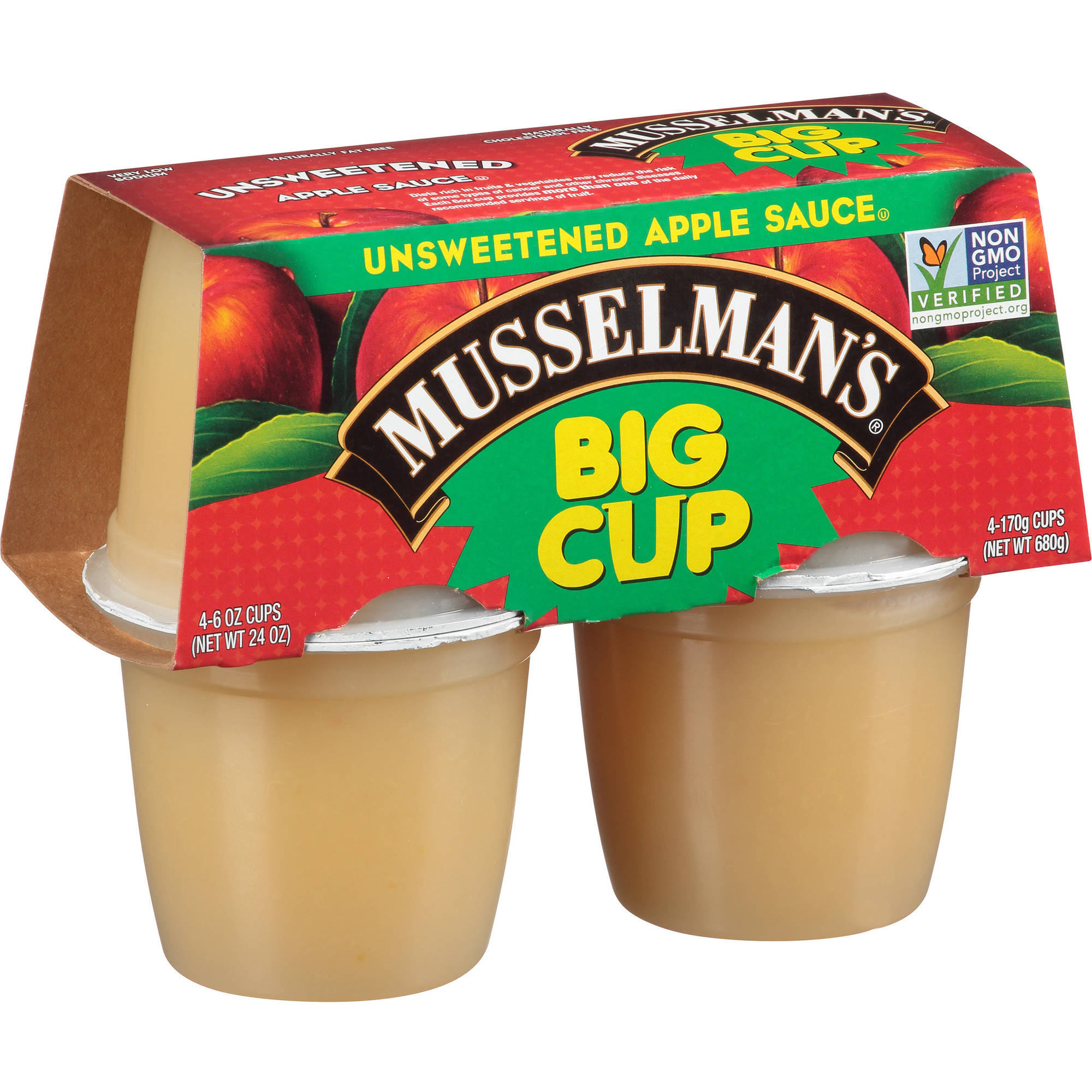 (2 Pack) Musselman's® Big Cup Unsweetened Apple Sauce 4-6 oz. Cups