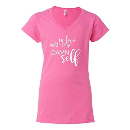 in Love with Myself (White) Valentine's Day Women's V-Neck Shirt-Azalea-Large