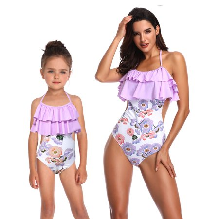 d0d1d12cdd Sexy Dance - Mom and Me One-Piece Swimwear Family Matching Swimsuit  Beachwear One-Piece Halter Backless Hollow Out Swimming Costume Bathing Suit  - Walmart. ...