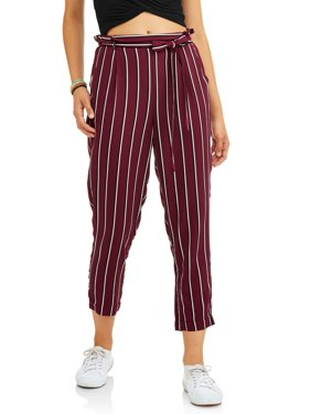 ac57ef5502acd Product Image Paper Tee Juniors  Striped and Solid Paper Bag Challis Pants  with Tie Waist