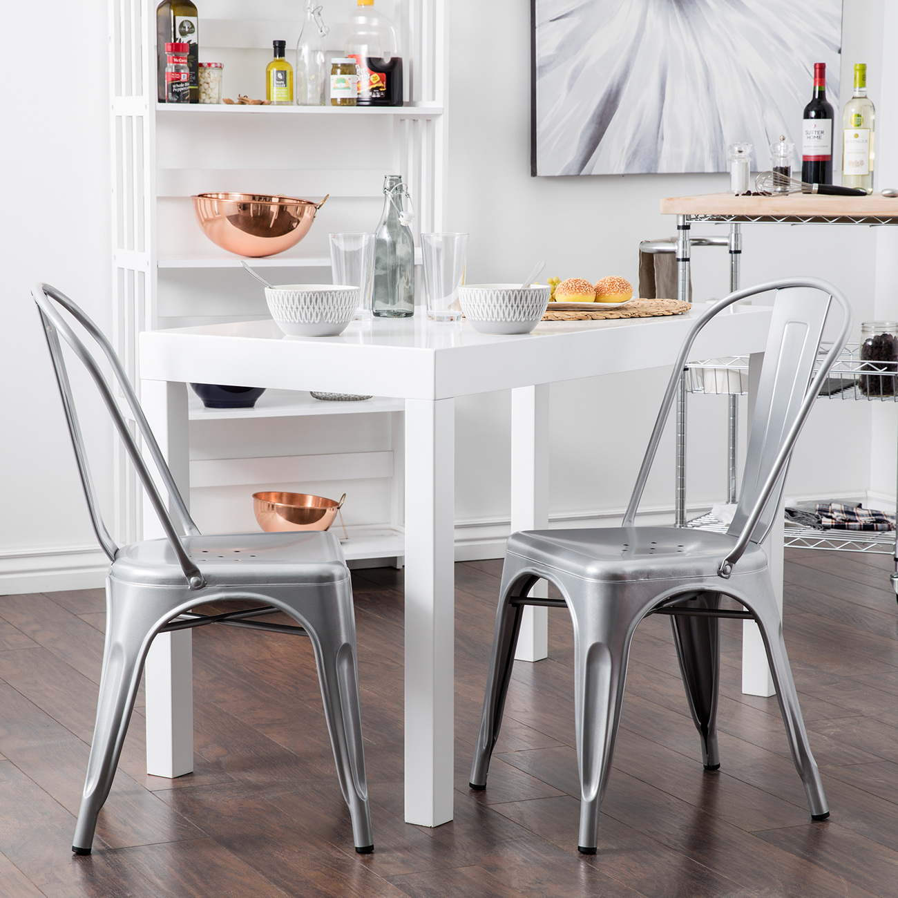 Belleze Indoor Outdoor Kitchen Bar Chairs Set of 4pc Dining Chair, Silver