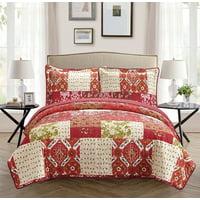 Fancy Linen 3pc King Bedspread Bed Cover Floral Burgundy Beige Red New