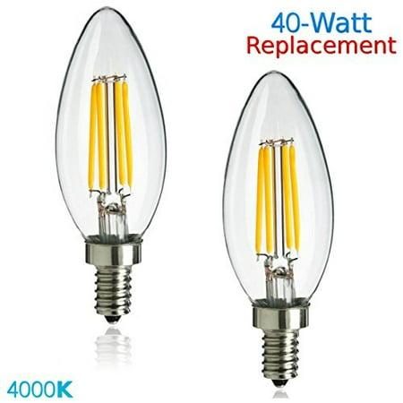 Luxrite LR21244 (2-Pack) 4W LED Filament Candelabra Bulb, 40W Equivalent, Cool White 4100K, 350 Lumens, E12 Candelabra Base, Torpedo (40w E12 Candelabra Base)
