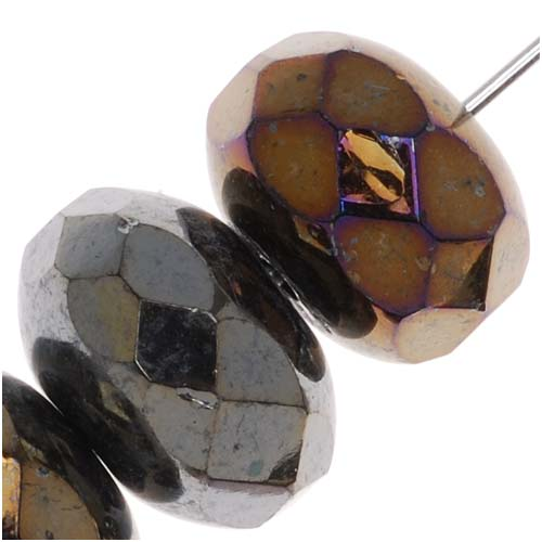 Czech Fire Polished Glass Beads 11mm x 7mm Rondelle Metallic 'Brown Iris' (x8)