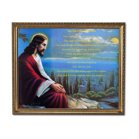 Religious Robe (Jesus Red Robe The Ten Commandments Religious Wall Picture Gold Framed Art)