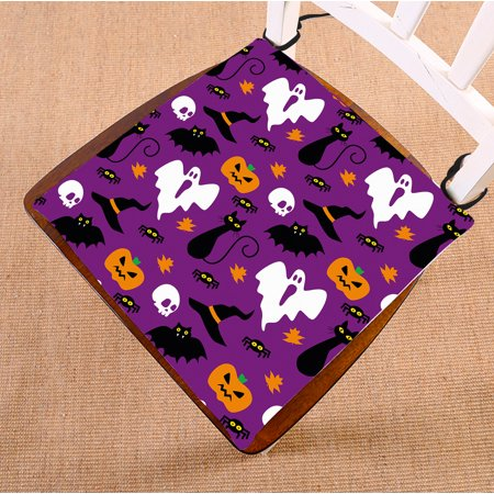 GCKG Funny Hallowen Time Ghost Pumpkin Halloween Chair Pad Seat Cushion Chair Cushion Floor Cushion with Breathable Memory Inner Cushion and Ties Two Sides Printing 16x16 inches (Funny Pumpkin Ideas For Halloween)