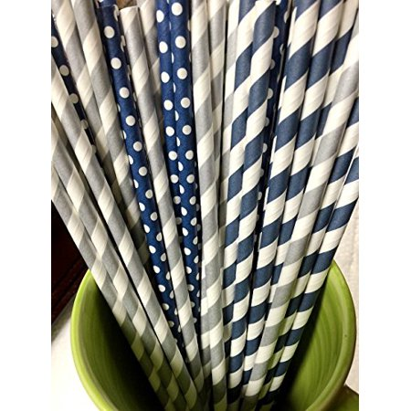 125 Navy and silver Paper Straws - Party DIY, Mason Jars, Baby Shower, Chevron and Polka Dots - Mason Jar Centerpieces For Graduation Party