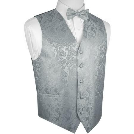 Men's Formal, Prom, Wedding, Tuxedo Vest, Bow-Tie & Hankie Set in Silver Paisley - Gold Tuxedo Jacket