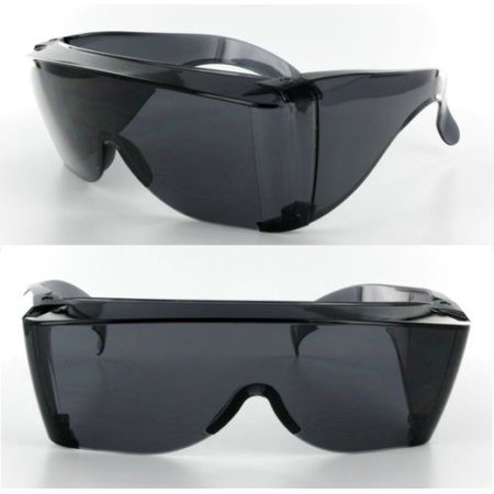 1052 Glasses - Extra Large Fit COVER Over Most Rx Glasses Sunglasses Safety drive put Dark Lens