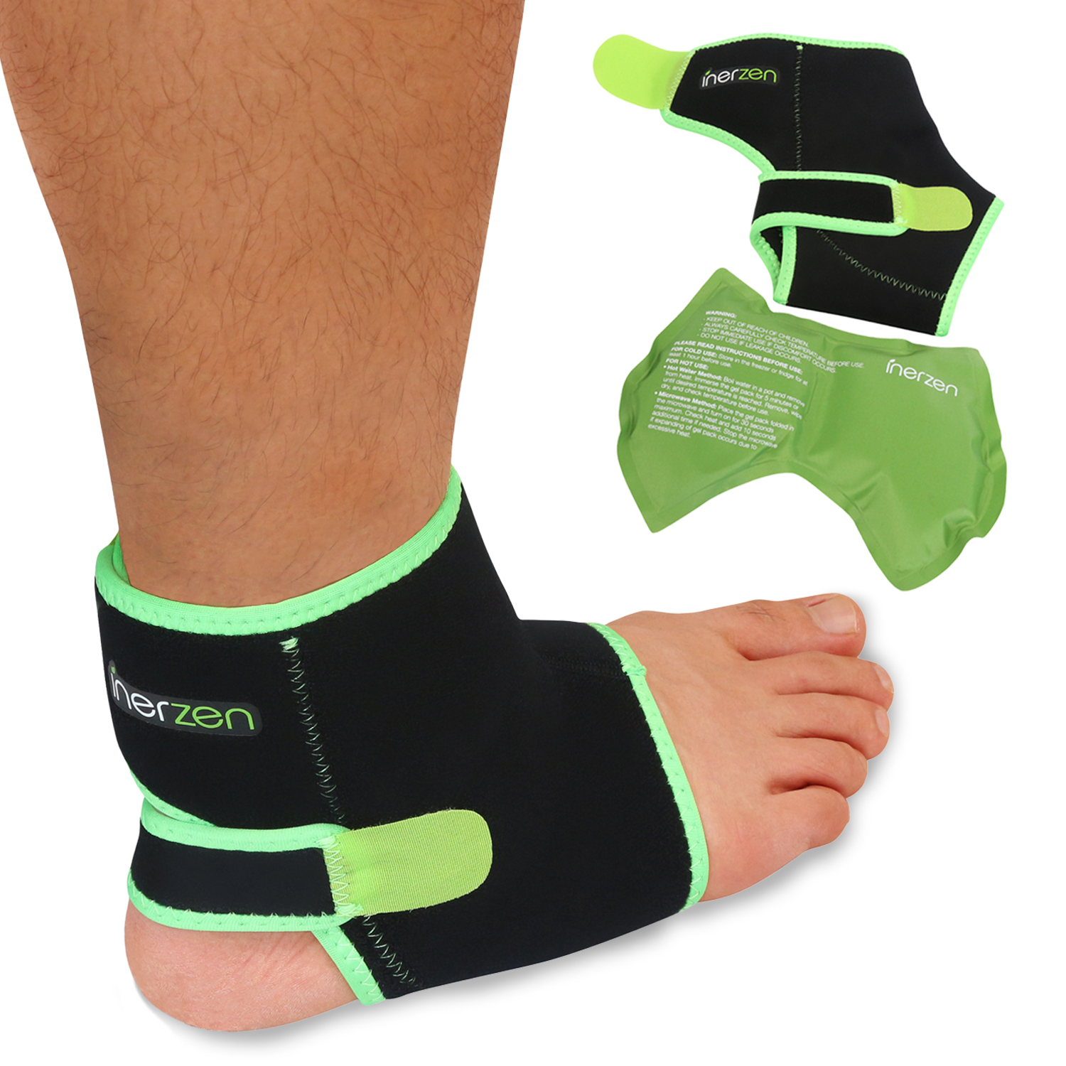 Inerzen Ankle Support Hot and Cold Gel Therapy Wrap - Includes Hot or Cold Gel Pack for Pain Relief – Microwavable, Freezable, Reusable (One Size Fits All)
