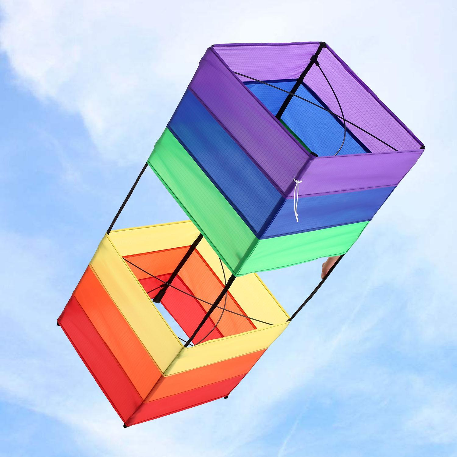 Rainbows Rectangle Box Kite for Kids and Adults Outdoor Games by Generic