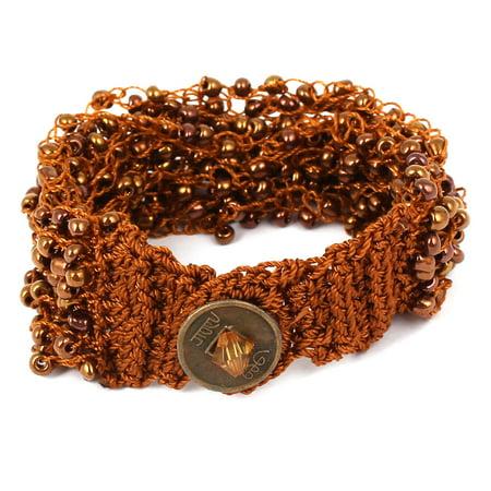 Ladies Nylon Plastic Beaded Inlaid Copper Cash Button Bracelet Wristlet Brown - image 2 de 3