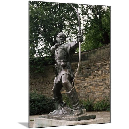 Statue of Robin Hood, Nottingham, Nottinghamshire, England, United Kingdom Wood Mounted Print Wall Art By Charles Bowman
