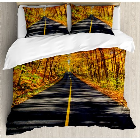 Fall Decor King Size Duvet Cover Set  Endless Rural Road Through Vibrant Treed Corridor Landscape Scenic Countryside  Decorative 3 Piece Bedding Set With 2 Pillow Shams  Multicolor  By Ambesonne