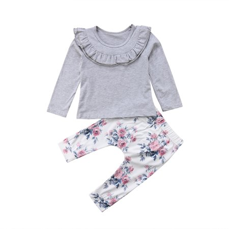 Baby Girls Long Sleeve Solid Color Ruffle Top and Floral Pants Outfit Set 2pcs Fall Winter Clothes 3-6M