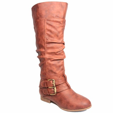 Brown Suede High Heel - Coco-20 Women's Fashion Buckles Low Heel Round Toe Zipper Knee High Riding Boots