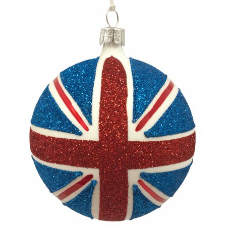 United Kingdom Union Jack Glittered Czech Glass Christmas Tree Ornament UK - Union Jack Decorations