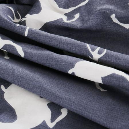 Piccocasa Duvet Cover Cotton Covers 3 Piece Bedding Pillowcase SetNavy Blue Deer - image 1 de 7