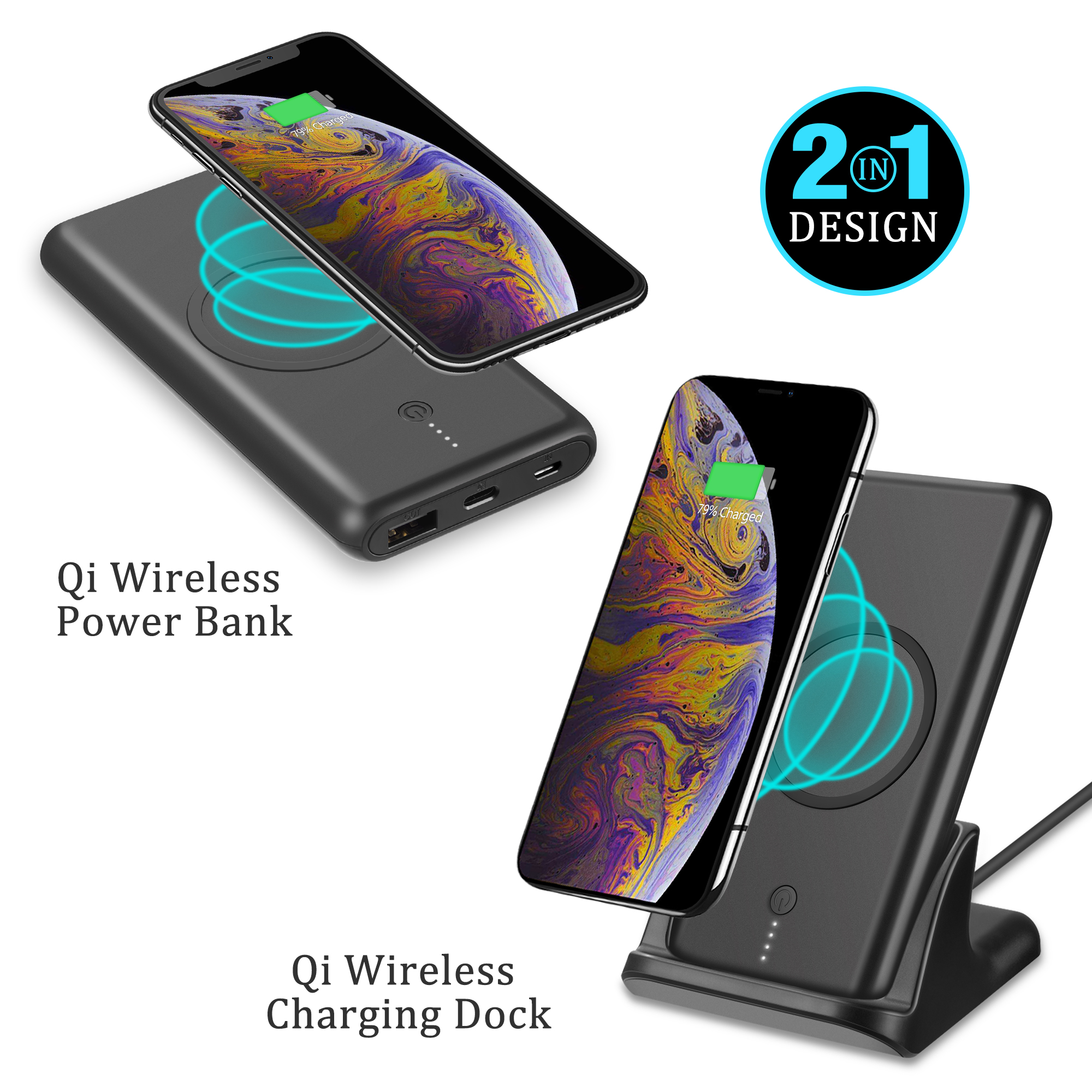 Wireless Charging Stand Qi Wireless Charger Dock, External Battery Charger Pack Portable Charger Battery Pack for Samsung Galaxy S8 / S8 Plus / Note 8/ Note 5/ S7 / S7 Edge / S6 / iPhone 8