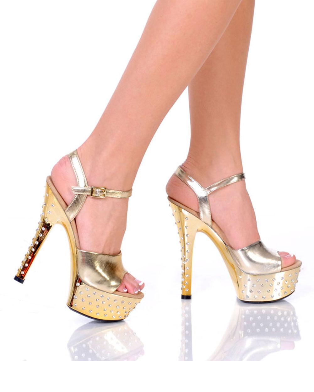 "Women's Shoes 6"" Diamond Drilled Platform With Plain Vamp - Gold Metallic PU"