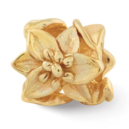 925 Sterling Silver Gold Plated Charm For Bracelet Plumeria Floral Bead Fine Jewelry Gifts For Women For Her - image 8 de 8