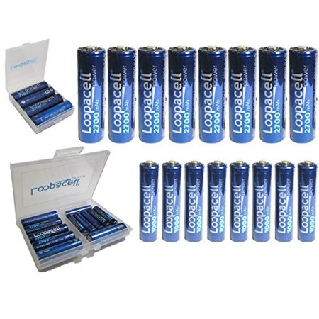 New Release 16 pack High-Capacity Rechargeable Batteries (8) AA 2700mAh (8)AAA 1000mAh Rechargeable Batteries + battery case +battery holder