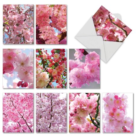 Cherry Blossoms: 10 Assorted Blank All Occasions Greeting Cards Showing Beautifully Detailed Flowering Trees, with Envelopes.
