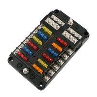 product image universal auto car 12-way blade fuse standard circuit holder  box block dc 12-