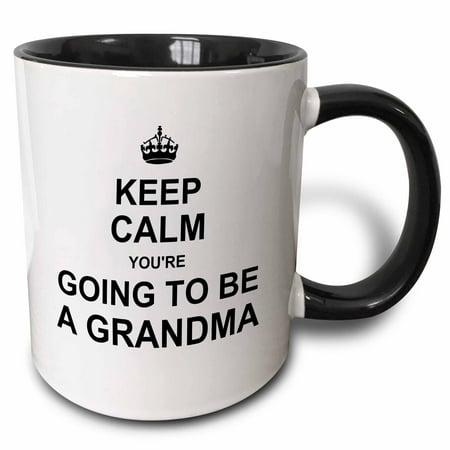 - 3dRose Keep Calm Youre going to be a Grandma - future grandmother text gift, Two Tone Black Mug, 11oz
