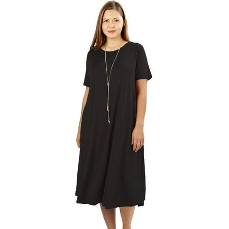 JED FASHION Women's Plus Size Soft Fabric Knee Length T-Shirt Dress