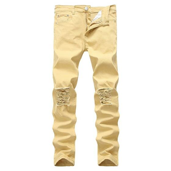 89da1fe0e6 Men's Slim Fit Black Stretch Destroyed Ripped Skinny Denim Jeans