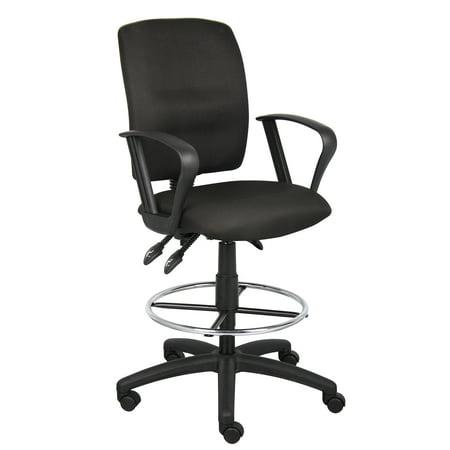 Boss Office & Home Black Multifunctional Loop Arm Drafting Stool